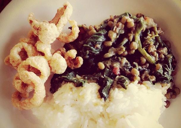 Chicharon, Munggo, Rice