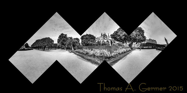 'A Gothic Square,' a spherical panorama taken in Square Jean XXIII behind the Cathedral Notre Dame.