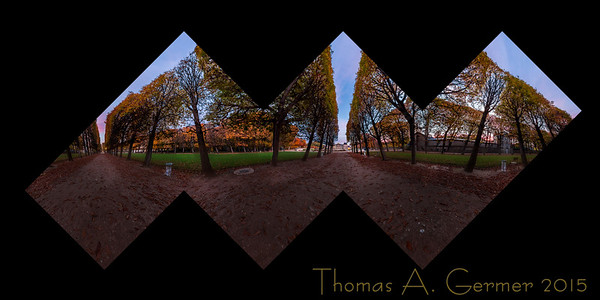 'Automne dans le jardin,' a spherical panorama mapped onto a cube. This is a proof for a photographic sculpture.