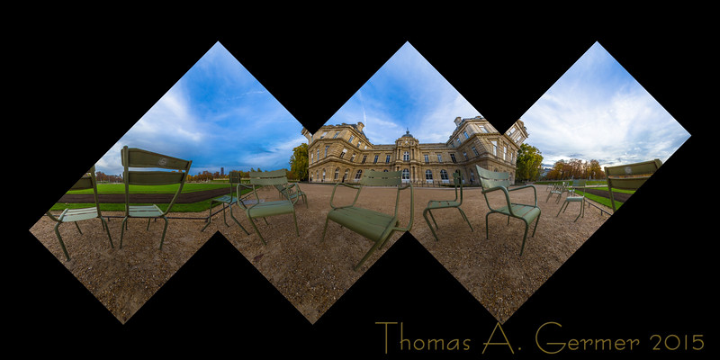 'Chairs at Luxembourg', a spherical panorama, mapped onto the faces of a cube, a proof for a photographic sculpture.