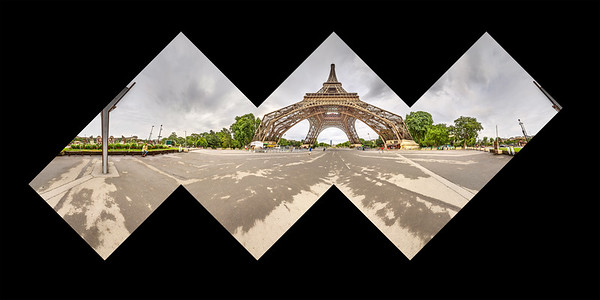A spherical panorama, taken in Paris by the Eiffel Tower. This is a proof for a cubic panorama, which may someday be assembled into a photographic sculpture.