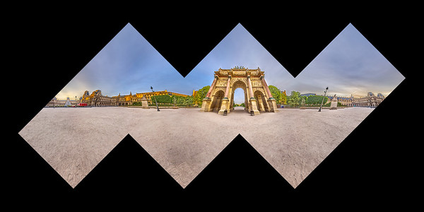A spherical panorama of the Arc de Triomphe du Carrousel in Paris, laid out as a cube.