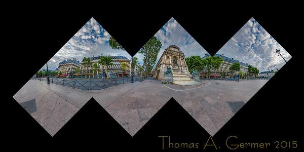 Fontaine Saint-Michel in Paris, a flattened cube spherical panorama.
