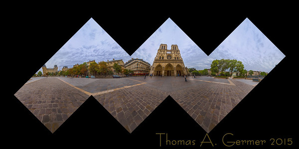 Cathedral Notre Dame, in Paris, a proof for a spherical panoramic photographic sculpture.
