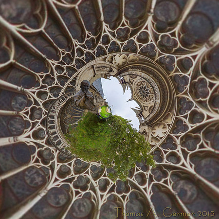 Saint Jean-Paul II, on the south side of the Notre Dame in Paris. This is a spherical panorama shown in a stereographic projection.