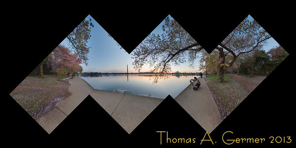 Spherical panorama, mapped onto a cube and laid out flat, taken at the Tidal Basin in Washington, DC, showing the Washington Monument and Jefferson Memorial.