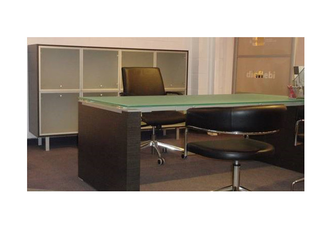 ex stock saint glass top executive desk with bookcase storage