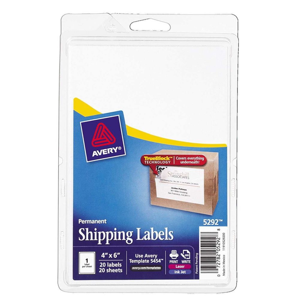 4 Per Sheet Label Template and Avery Shipping Labels with Trueblock Technology 4 X