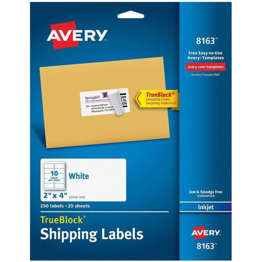 52 Labels Per Sheet Template and Avery R Internet Shipping Labels with Trueblock R Technology