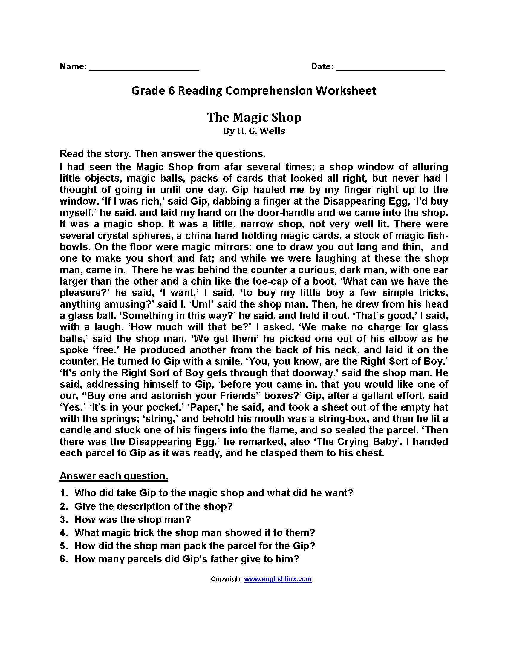 Abraham Lincoln Comprehension Worksheet and Reading Worksheets Sixth Grade Reading Worksheets