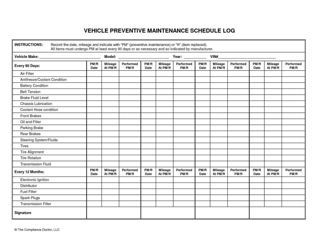 Auto Maintenance Schedule Spreadsheet and Vehicle Maintenance Plan Template and Car Maintenance Schedule