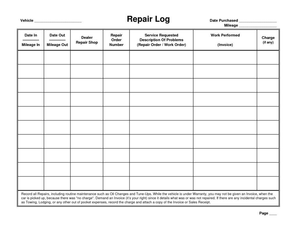 Auto Maintenance Spreadsheet and Vehicle Service Record Template Ewolf software