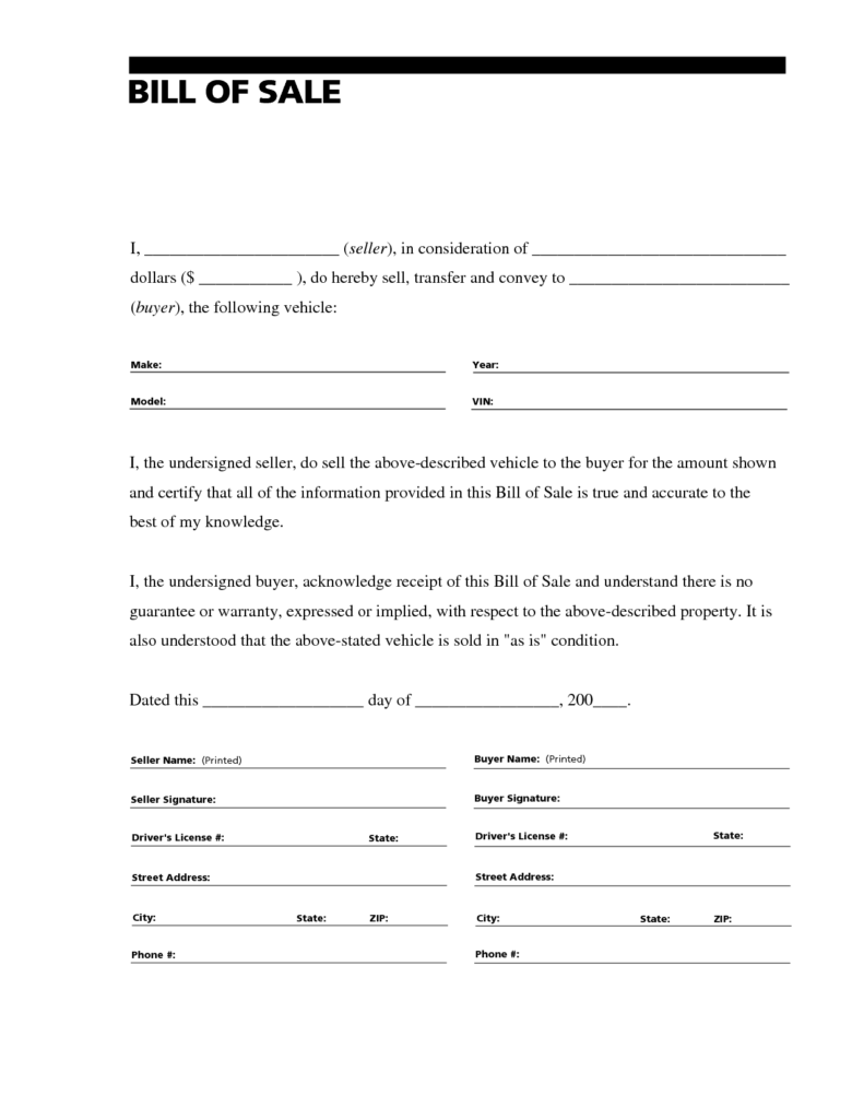 Automobile Bill Of Sale Sample and Printable Sample Free Car Bill Of Sale Template form Laywers