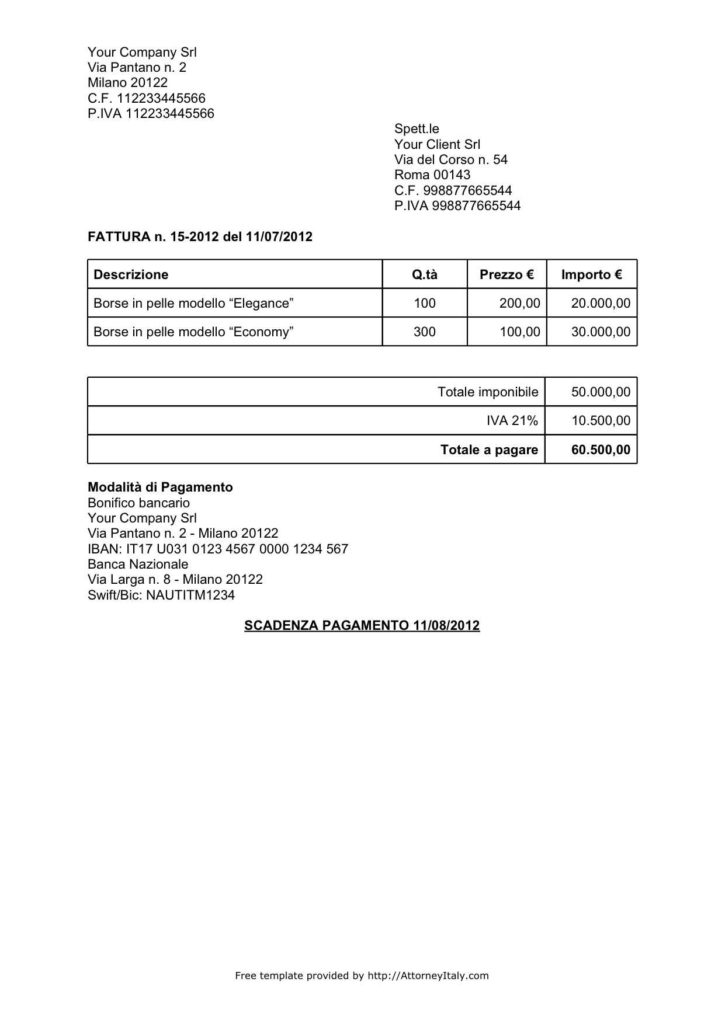 Bill for Services Rendered Template and Italian Invoice Template