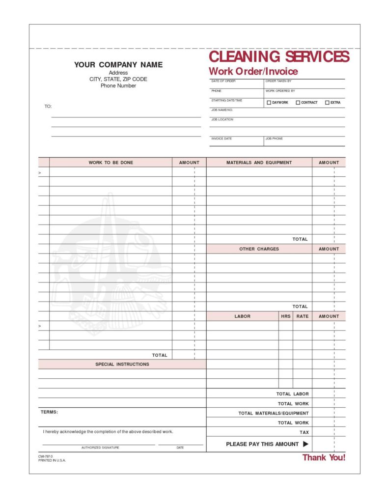 Bill for Services Rendered Template and Janitorial Services Invoice Template Firmsinjafo