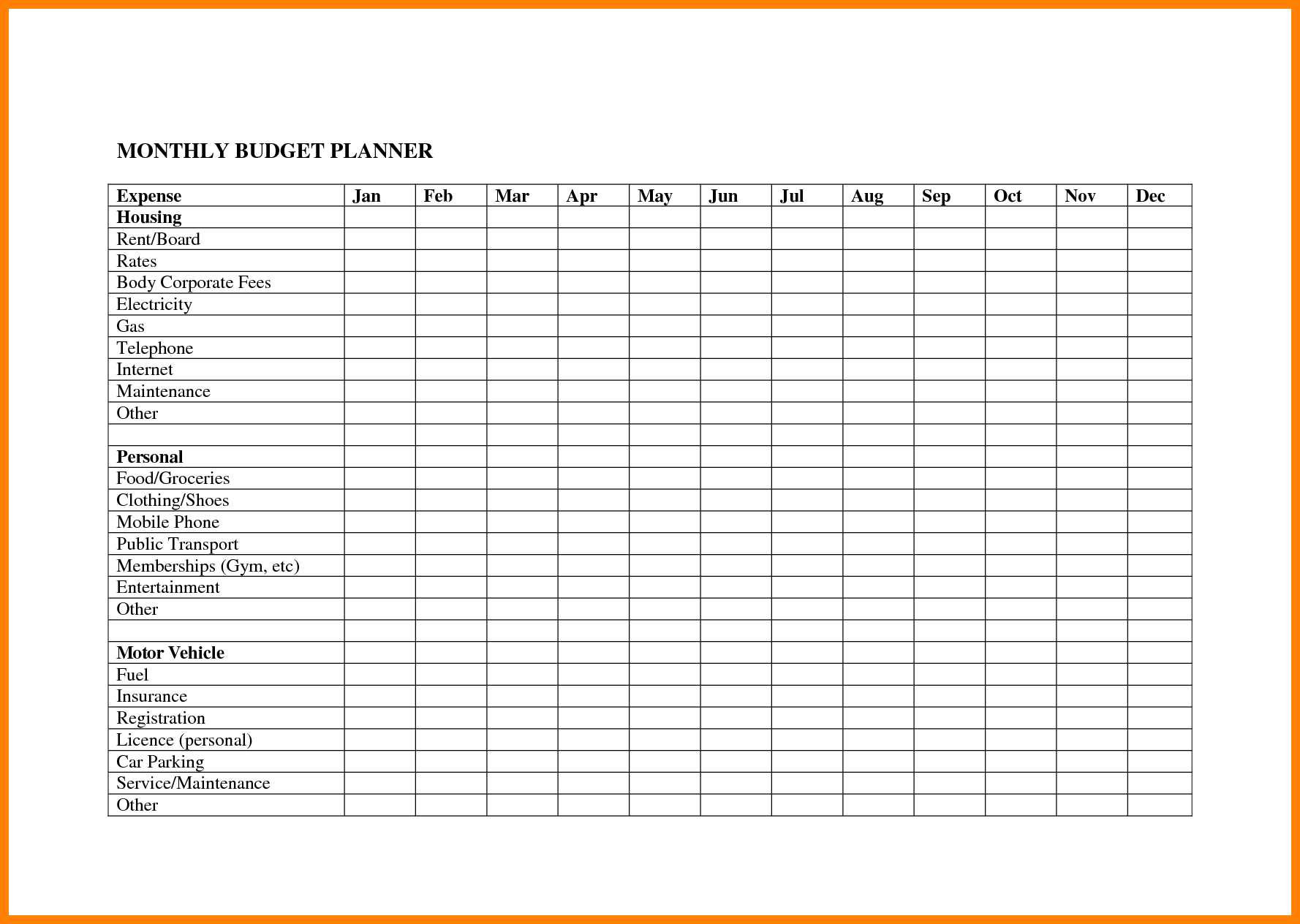 Bill List Template and 100 Monthly Bud S Templates Quarterly Bud Template
