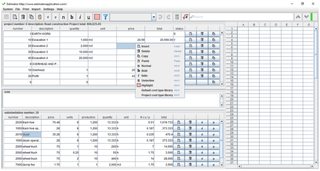 Bill Of Material Excel Template and 7 Free Construction Estimating software Products