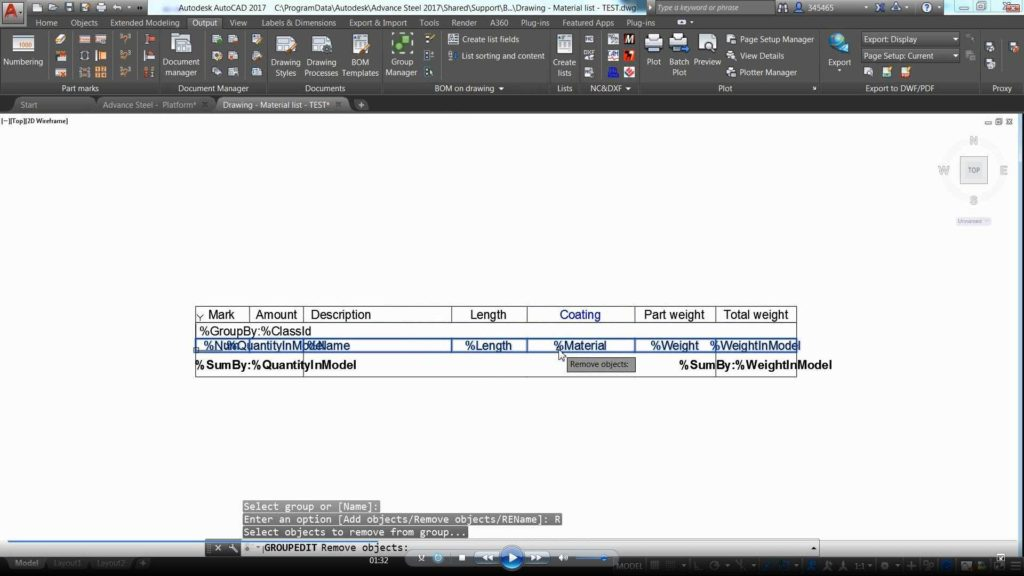 Bill Of Materials Template and Advance Steel Bom On Drawing Template Customization Youtube