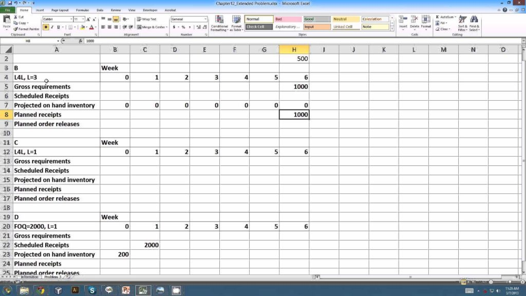 Bill Of Materials Template Free and Master Resource Planning Example Youtube