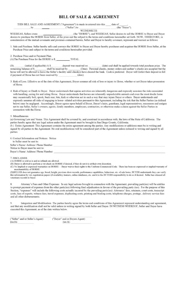 Bill Of Sale Agreement Template and Free California Horse Bill Of Sale Agreement Template Pdf Docx