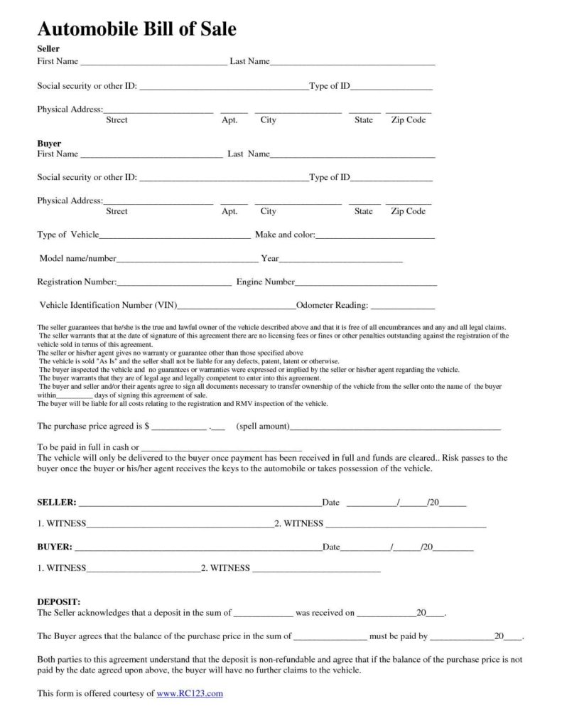 Bill Of Sale Colorado Template and Template for Auto Bill Of Sale Teerve Sheet