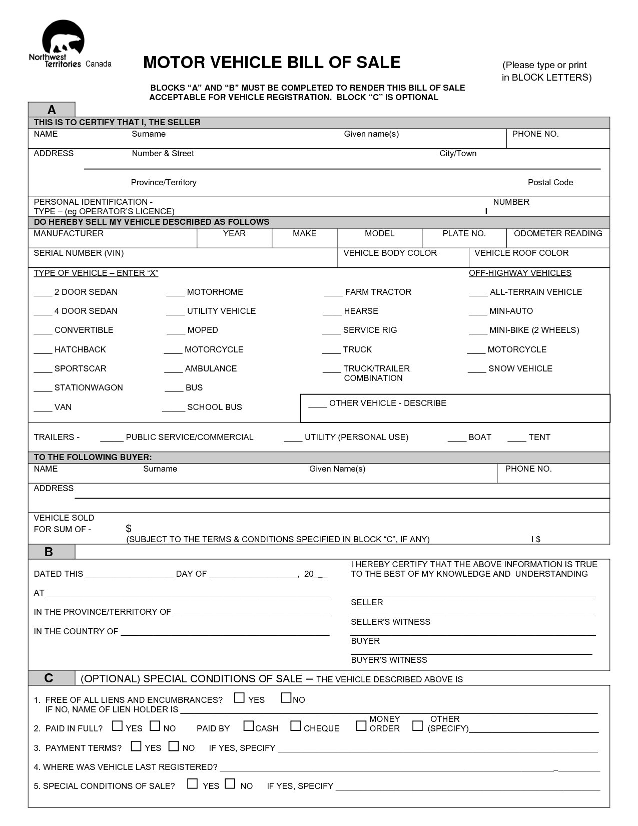Bill Of Sale for Business Template and Free Printable Vehicle Bill Of Sale Template form Generic