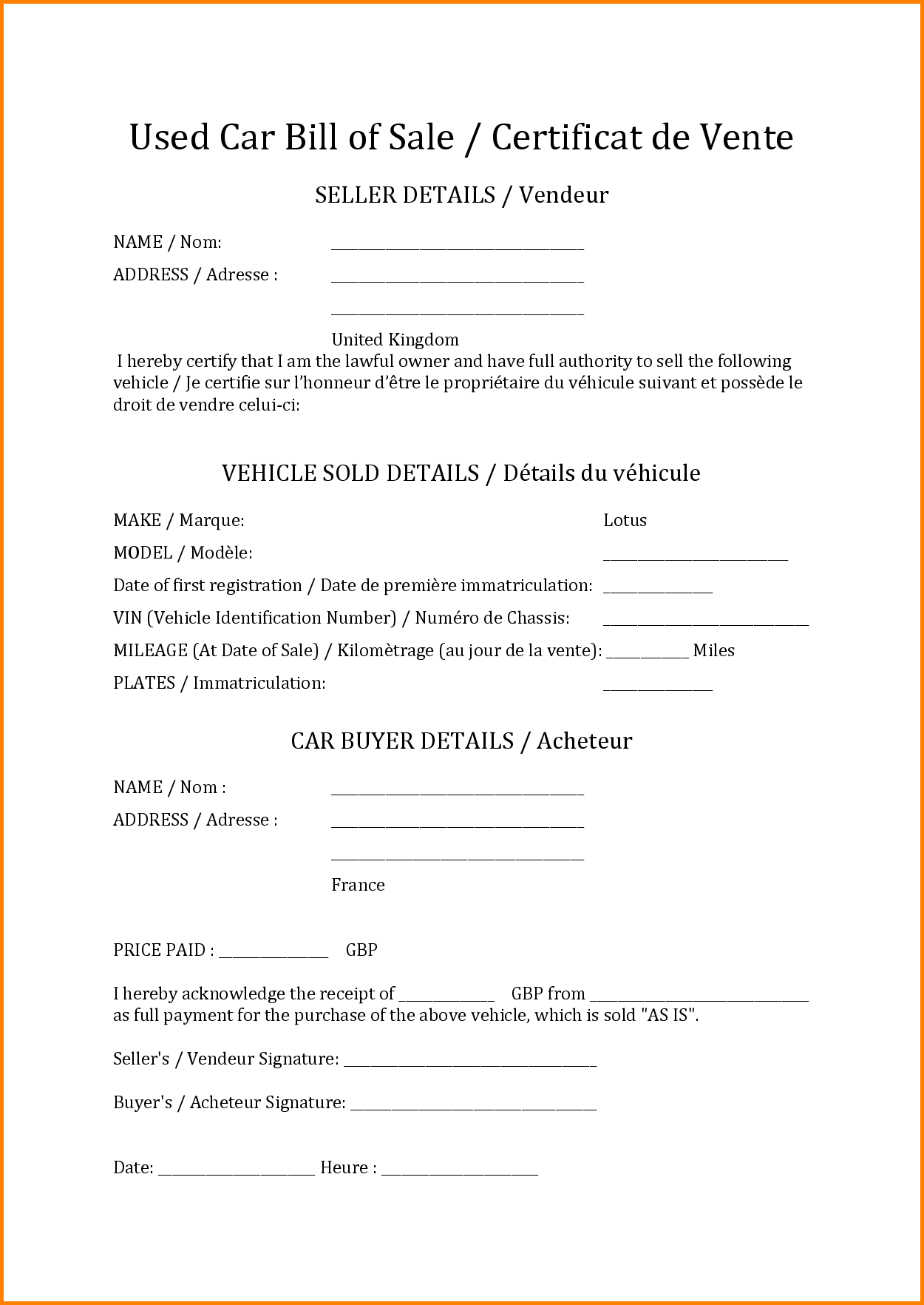 Bill Of Sale for Used Car Template and 10 How to Write A Bill Template Simple Bill