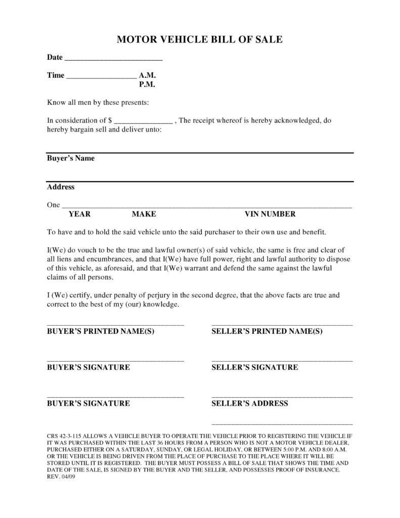 Bill Of Sale Template Colorado and Free Colorado Vehicle Bill Of Sale form Pdf Docx