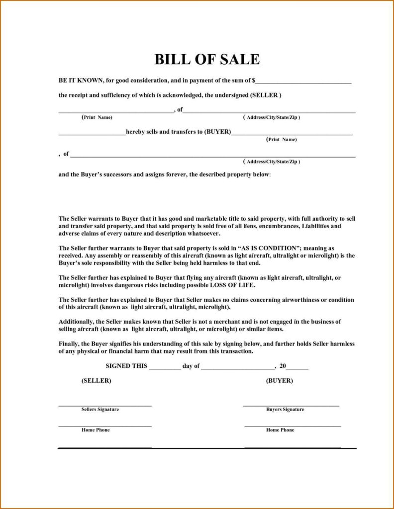 Bill Of Sale Template for A Boat and Bill Of Sale Template for A Boat Teerve Sheet