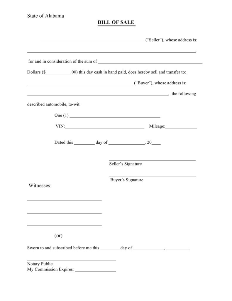 Bill Of Sale Template for atv and Free Alabama Bill Of Sale form Pdf Docx
