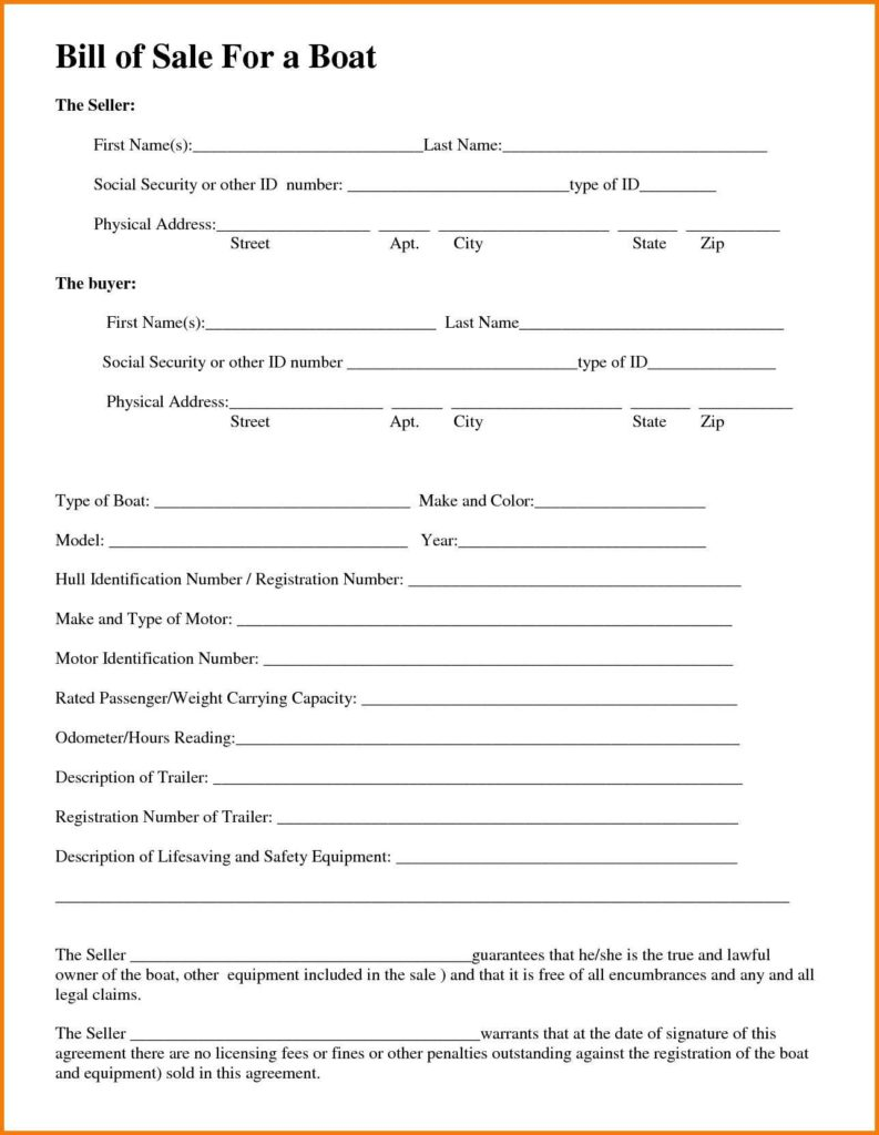 Bill Of Sale Template for Boat Motor and Trailer and Bill Of Sale Template for A Boat Teerve Sheet