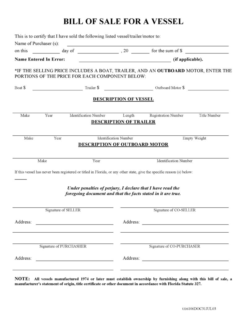 Bill Of Sale Template for Boat Motor and Trailer and Free Florida Boat Bill Of Sale form Pdf Docx