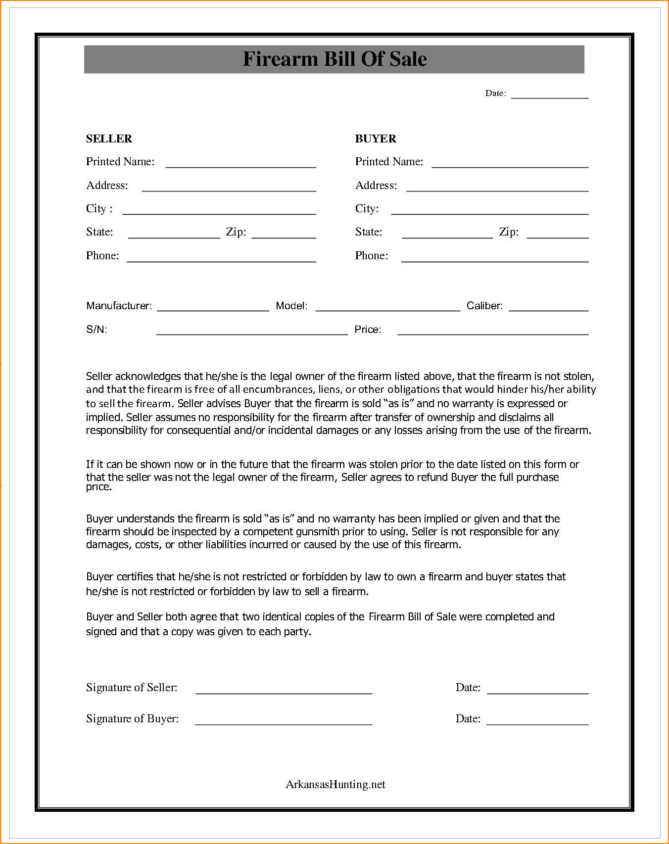 Bill Of Sale Template for Gun and 9 Gun Bill Of Sale Florida Bibliography format