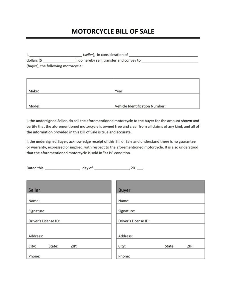 Bill Of Sale Template for Motorcycle and Motorcycle Bill Of Sale Freewordtemplates