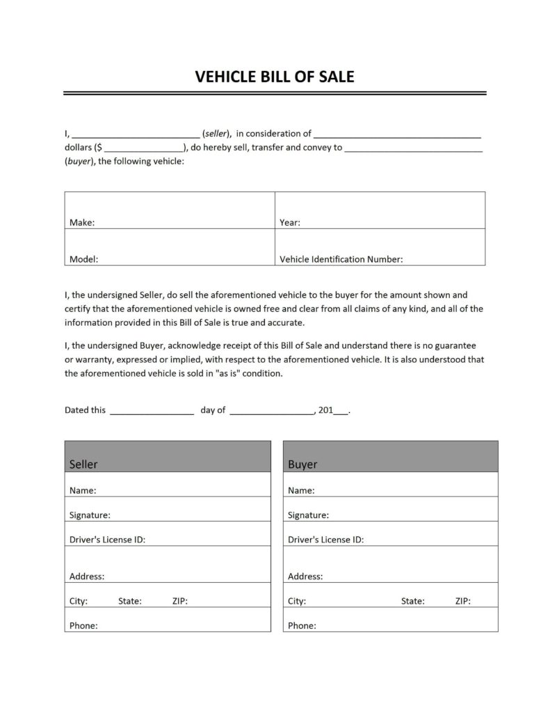 Bill Of Sale Template for Vehicle and Vehicle Bill Of Sale Freewordtemplates