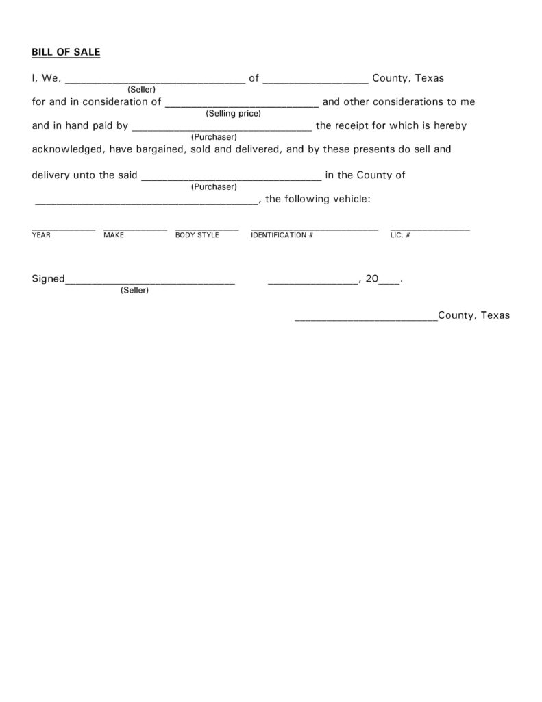 Bill Of Sale Texas Template and Free Texas Vehicle Bill Of Sale Pdf Docx