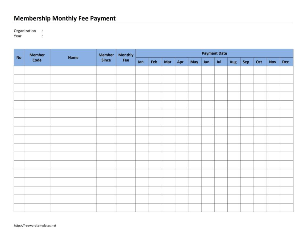 Bill Pay Calendar Template Free and Membership Monthly Fee Payment Freewordtemplates