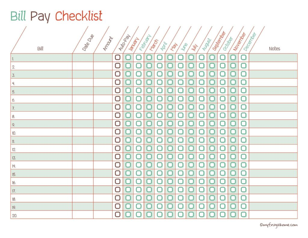 Bill Paying organizer Template and Printable Monthly Bill Payment Checklists