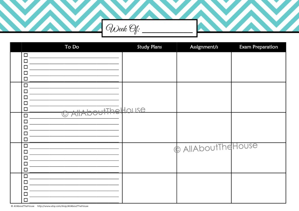 Bill Payment Record Template and Printable Student Planner