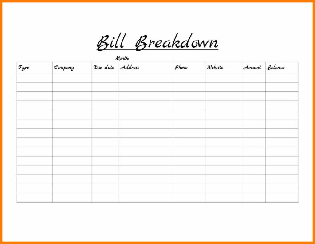 Bill Schedule Template and 9 Free Monthly Bill Template Hostess Resume