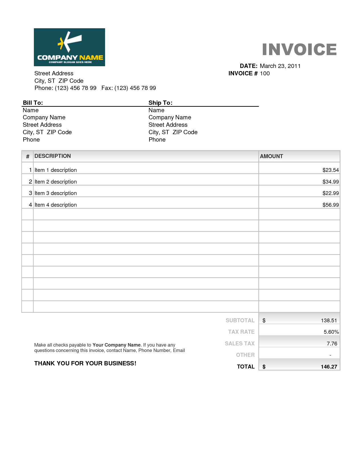Billing Invoice Template Pdf and Billing Invoice Template Excel Invoice Example