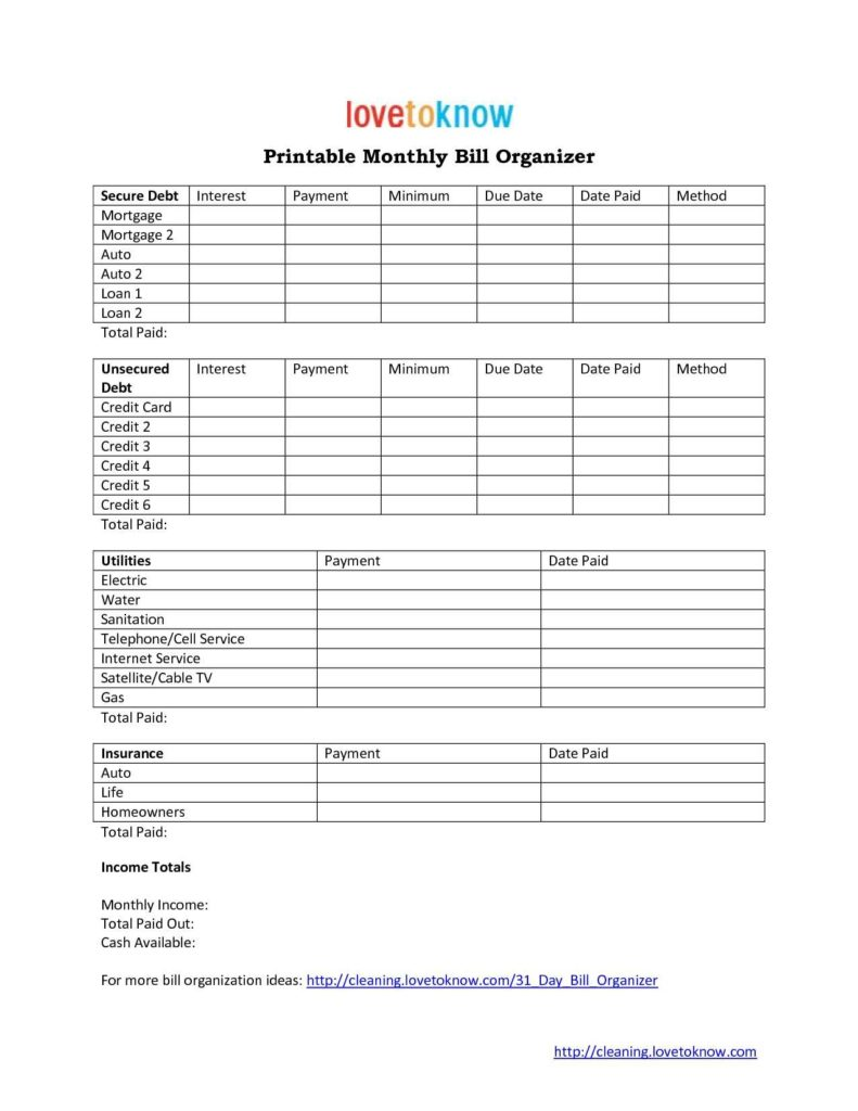 Bills organizer Template and Free Monthly Bill organizer Template Online Calendar Templates