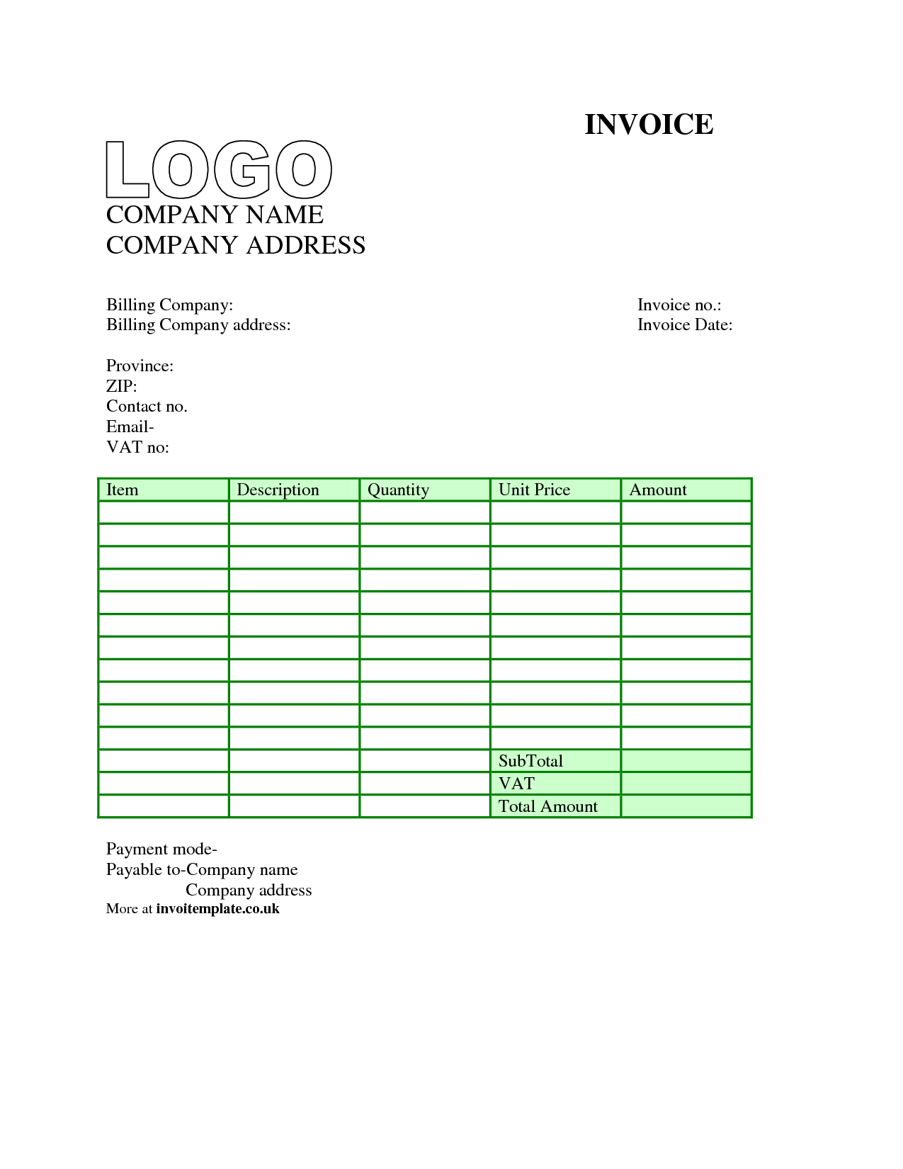 Bills Template Free and 100 Invoice Template for Excel 2010 Invoice Template