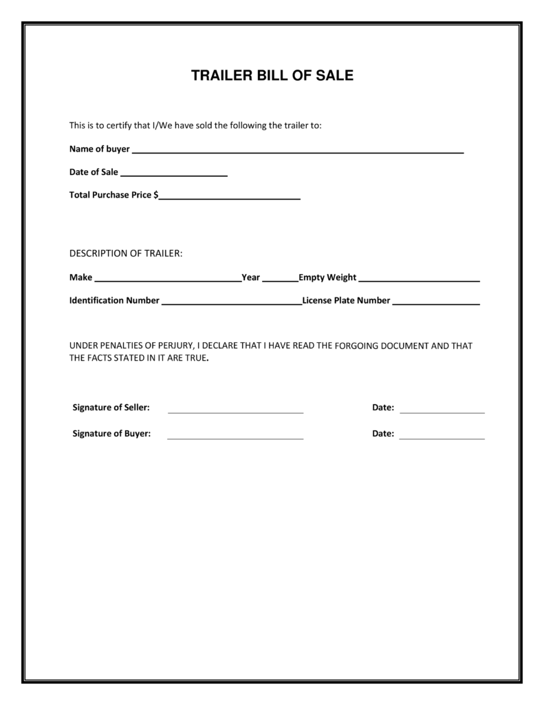 Blank Bill Of Sale Template and Blank Simple Printable Bill Of Sale form Template Pdf Firearm