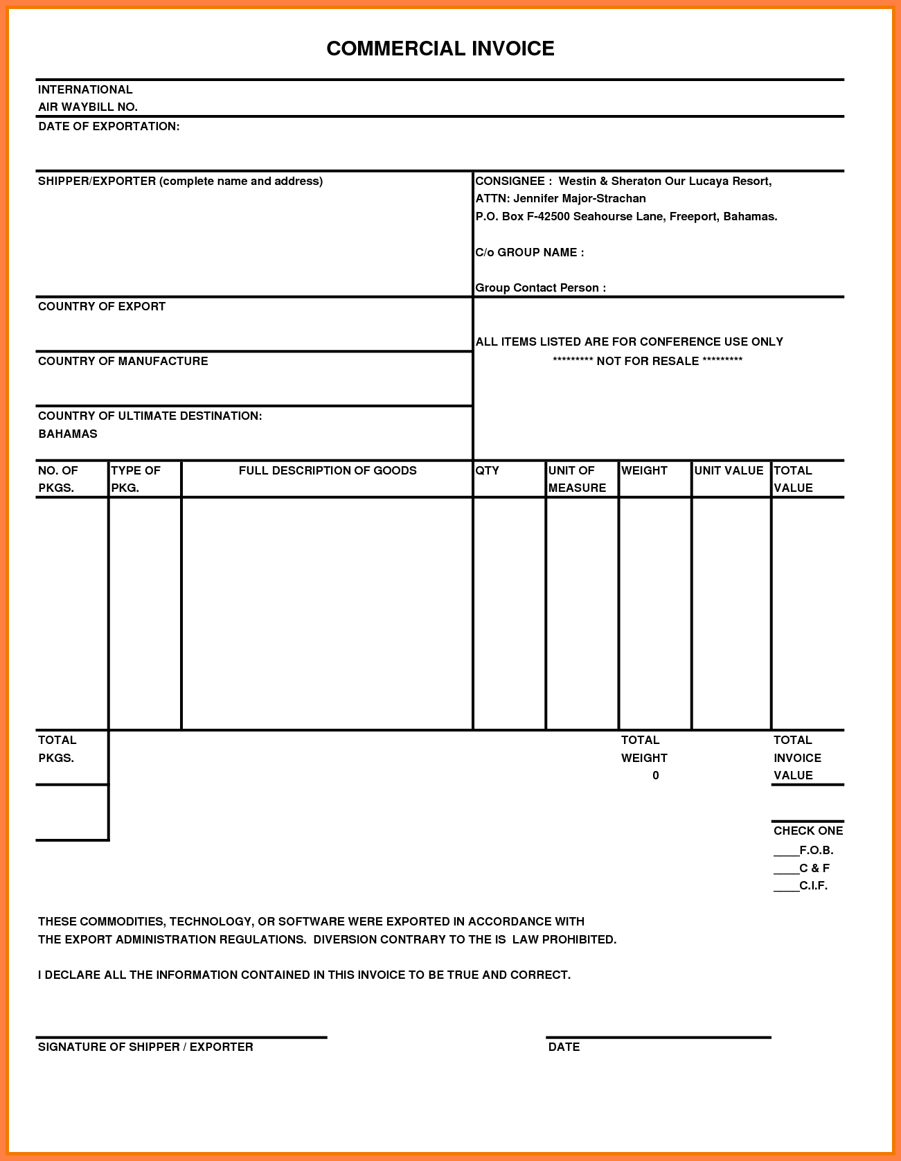 Blank Commercial Invoice Template and 7 Fed Ex Mercial Invoice Invoice Template