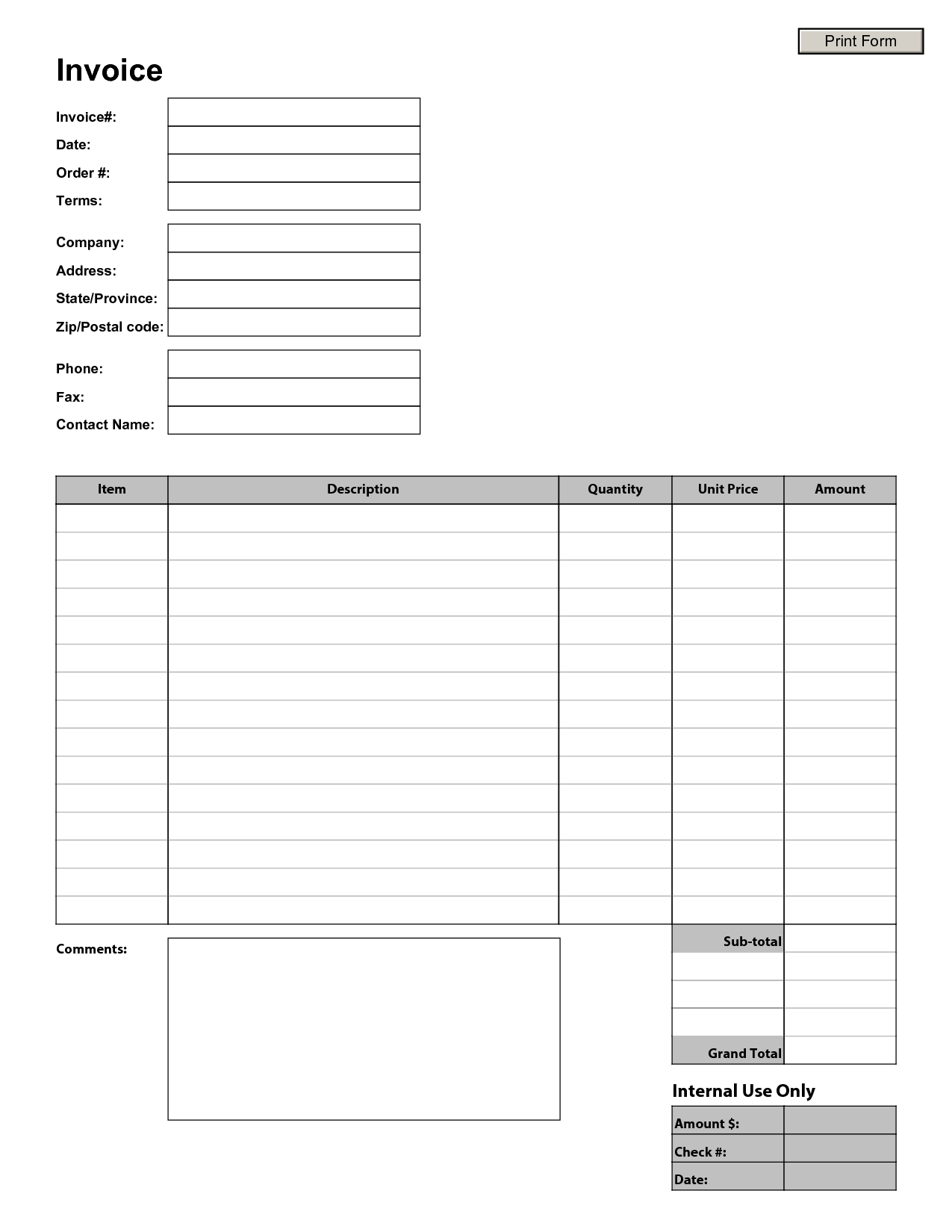 Blank Printable Invoice Template and Free Printable Invoice Templates Free Business Template