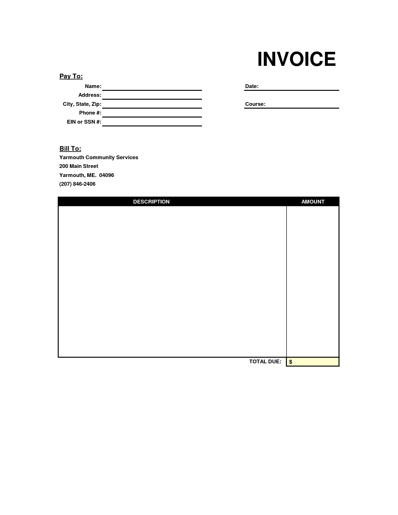 Blank Printable Invoice Template and Invoice Blank form Free Printable Printable Invoice Template