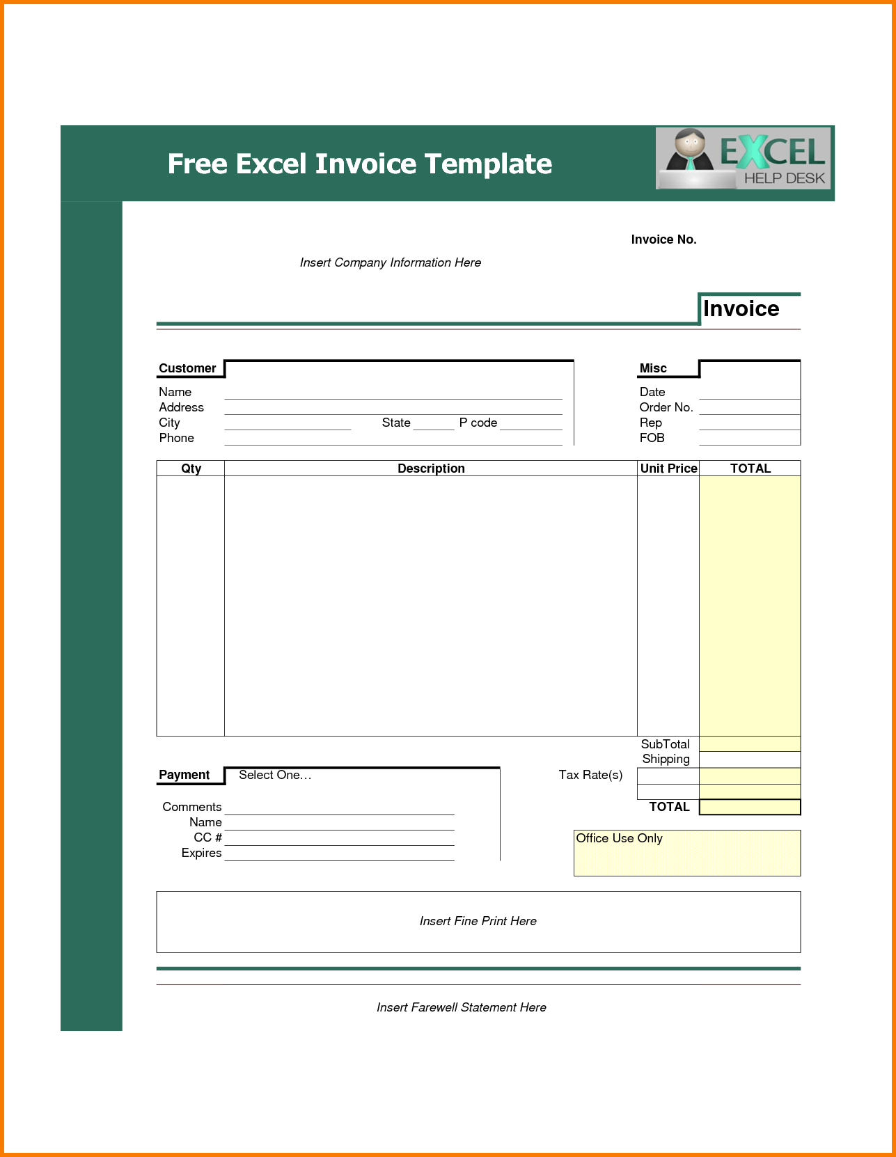 Bookkeeping Invoice Template and 7 Invoice Template for Excel Receipt Templates
