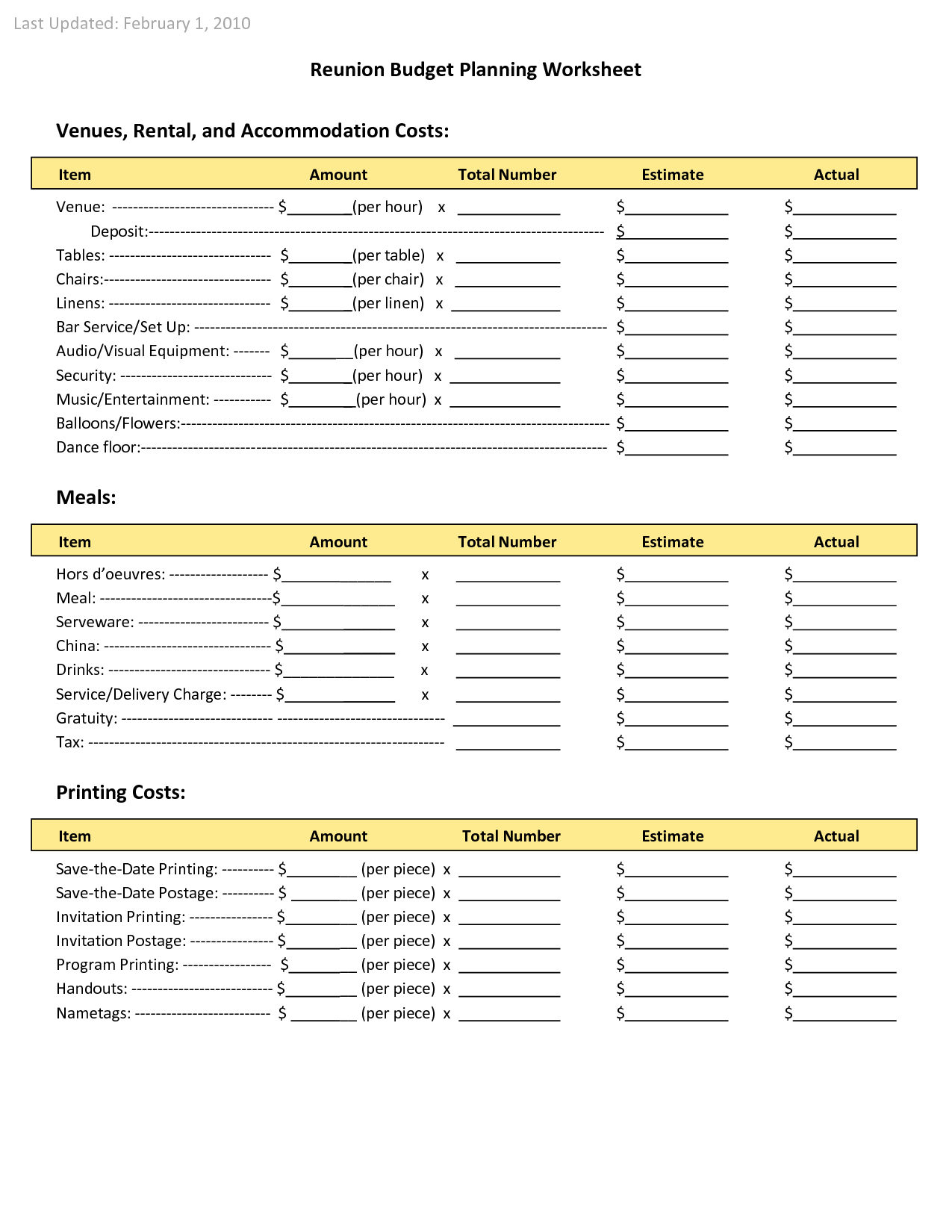 Budget Worksheet Examples and Family Reunion Planners Reunion Bud Planning Worksheet Venues