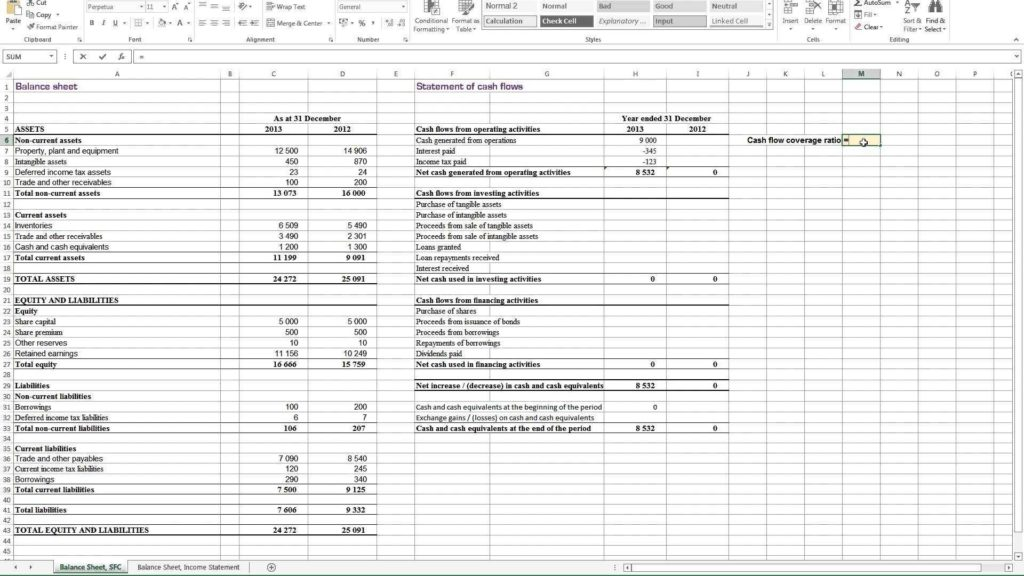 Business Cash Flow Spreadsheet and Calculating Cash Flow Coverage Ratio In Excel Youtube
